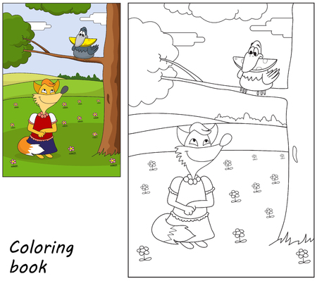 The fox is looking for a bird with cheese. Coloring book. Cartoon vector illustration. Eps 10