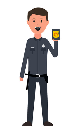 Policeman isolated on white. Vector illustration. Smiling person. Eps 10