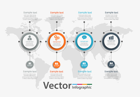 Timeline chart infographic template with 4 options for presentations, advertising, layouts, annual reports, web design. Vector circle infographic Illustration