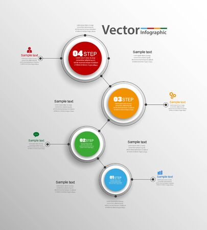 Plantilla de opciones de número de infografías abstractas con pasos. Se puede utilizar para diseño de flujo de trabajo, diagrama, opciones de pasos comerciales, banner, diseño web.