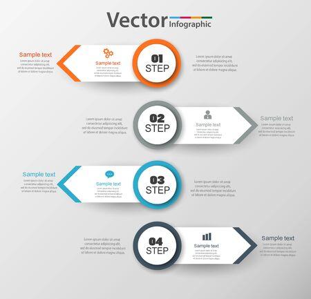 Il modello di progettazione infografica può essere utilizzato per il layout del flusso di lavoro, il diagramma, le opzioni numeriche, il web design. Concetto di business infografica con 4 opzioni, parti, passaggi o processi. Vettoriali