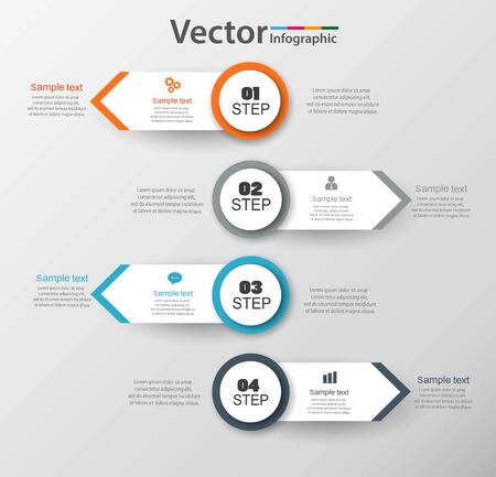 Infographic design template can be used for workflow layout, diagram, number options, web design. Infographic business concept with 4 options, parts, steps or processes. Vektoros illusztráció
