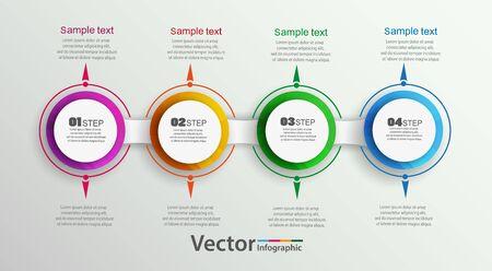 Infografía de círculo vectorial con 4 pasos. Plantilla para diagrama, gráfico, presentación y gráfico. Concepto de negocio, piezas, pasos o procesos.
