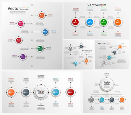 Collection of colorful infographic can be used for workflow layout, diagram, number options, web design. Infographic business concept with options, parts, steps or processes.