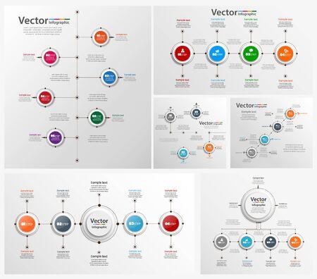 Sammlung von bunten Infografiken kann für Workflow-Layout, Diagramm, Zahlenoptionen, Webdesign verwendet werden. Infografik-Geschäftskonzept mit Optionen, Teilen, Schritten oder Prozessen.