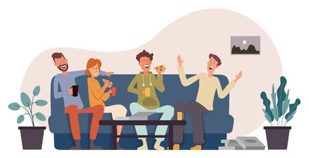 Company of four friends sits on the couch eating pizza, having fun, talking and laughing. Cartoon character design. Flat vector illustration