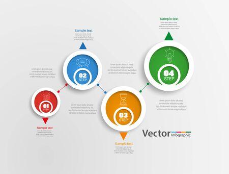 Infografik-Design-Vorlage. Geschäftskonzept mit 4 Schritten oder Optionen, kann für Workflow-Layout, Diagramm, Jahresbericht, Webdesign verwendet werden. Kreatives Banner, Etikettenvektor