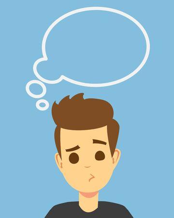 Étudiant éduqué pensant avec une bulle de réflexion au-dessus de la tête. Notion de vecteur d'éducation. Illustration de l'homme avec une bulle d'idée, homme d'affaires pensant