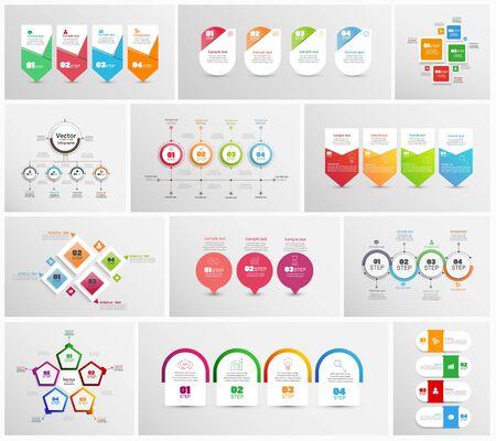 Große Sammlung von bunten Infografiken. Kann für Workflow-Layout, Diagramm, Nummernoptionen, Webdesign verwendet werden. Infografik-Geschäftskonzept mit Optionen, Teilen, Schritten oder Prozessen