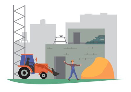 Construction industry concept with building process. Flat vector illustration eps 10 Ilustração