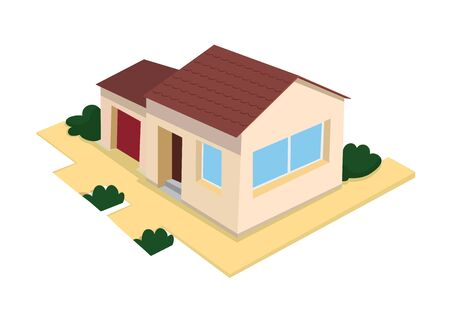 Vector illustration of 3d house with garage