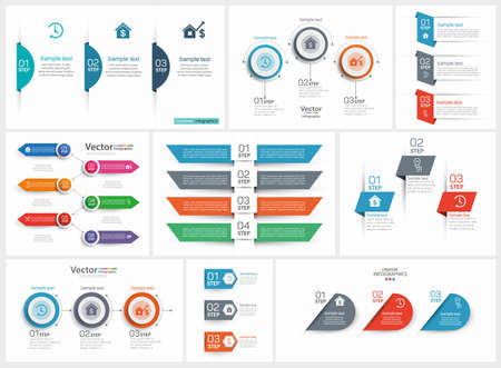 Colorful infographics collection, can be used for workflow layout, diagram, number options, web design. Vector Eps 10