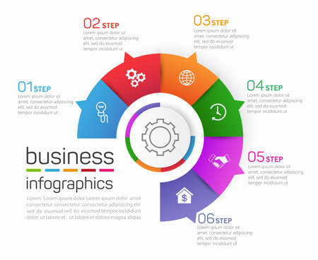 Circle shape business infographics vector design template with 6 options, steps or processes for presentation