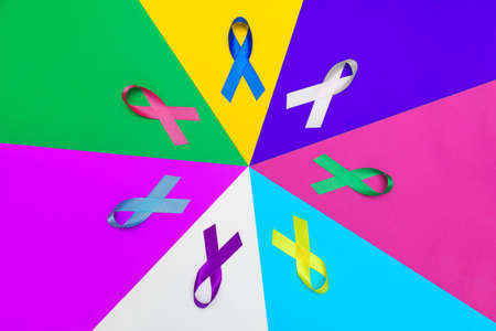World cancer day background. Colorful ribbons, cancer awareness. multi-colored surface Stock Photo