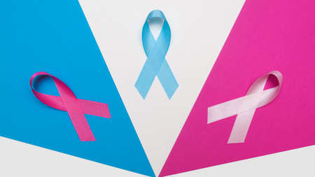 Colorfulribbons supporting cancer patients. The concept of the feast of the fourth of February
