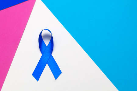Dark blue ribbon awareness for aids day concept.  World cancer day background Stock Photo
