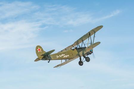 aircraft of the Second World War U-2 . Reconstruction of hostilities 2018-04-30 Samara Region, Russia.