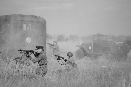 2018-04-30 The Samara, Russia. Soviet soldiers are attacked by German troops. Reconstruction of military operations. Editorial