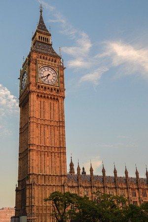 View of Big Ben and the Parliament building at sunset. United Kingdom. Stockfoto