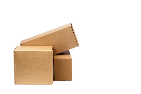 Cardboard boxes for goods on a white background. Different size. Isolated on white background