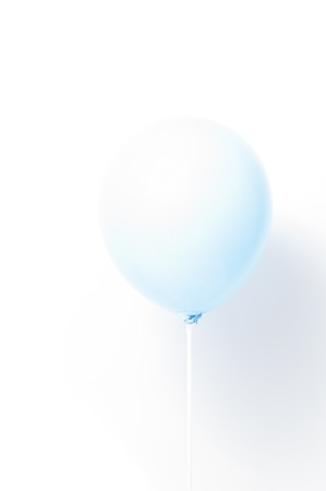 Blue balloon on white background with shadow. Strong light