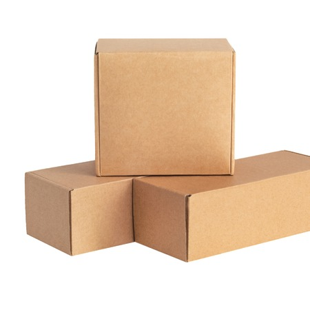 Cardboard boxes for goods on a white background. Different size. Isolated on white background.