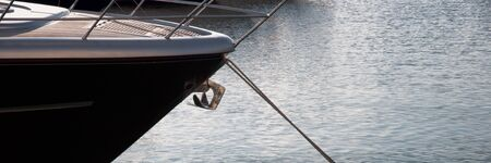 The bow of the yacht at sea anchored