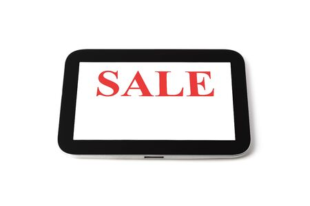 Tablet computer on white background, black frame, white screen lettering sale, isolated 스톡 콘텐츠