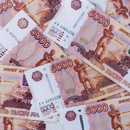 Background of Russian rubles banknote of five thousand