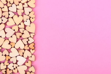 Valentine's heart background and free space for lettering. Color pink Standard-Bild