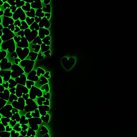 Valentine's heart background and free space for lettering. Color black, green