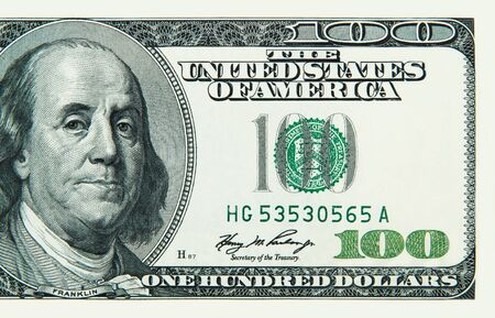 Part of a hundred American dollar bill close-up