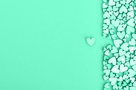 Valentines heart background and free space for lettering. Color green