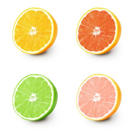 Isolated orange and lime. Several half ripe orange and lime isolated on a white background. Located on its side, a ripe juicy, bright pulp with texture and fibers is visible. Objects with a shadow.