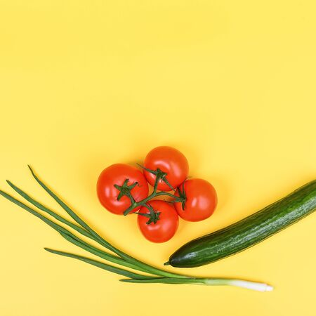 vegetables on a yellow background. Delivery, donation, coronavirus copyspace