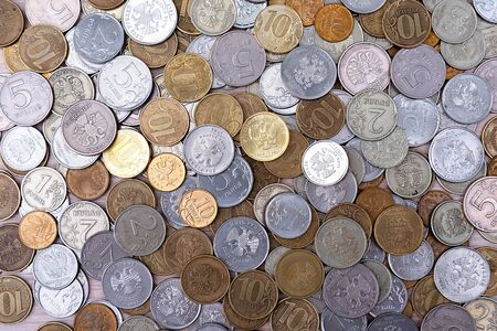 Russian coins money rubles and kopecks. Russian metal coins Background .