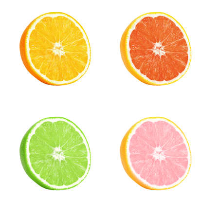 Isolated orange and lime. Several half ripe orange and lime isolated on a white background. Located on its side, a ripe juicy, bright pulp with texture and fibers is visible. Banque d'images