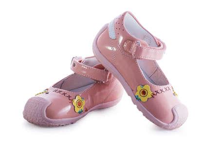 sandalias: sandalias de color rosa beb� con el patr�n Foto de archivo