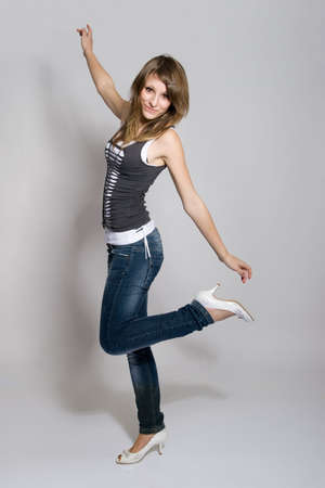 Playful teenager girl posing Stock Photo - 6610880