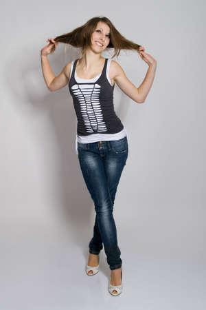 Playful teenager girl posing Stock Photo - 6610885
