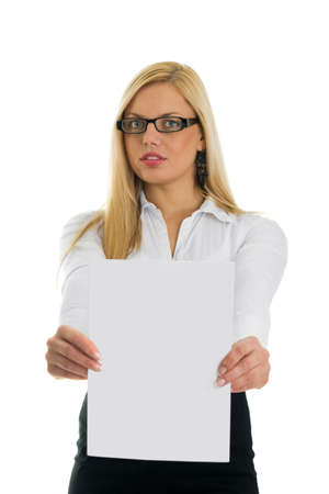 Young business women showing blank paper. Focus on paper. Isolated on white Stock Photo - 6610891