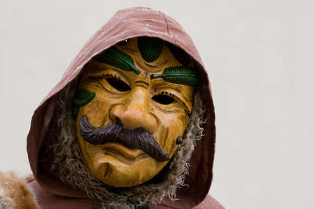 fasnet: Hunter Fasnet carnival wooden mask. Mask of historic figure Ranzabuffer. During his lifetime he was a hunter on the Hermit