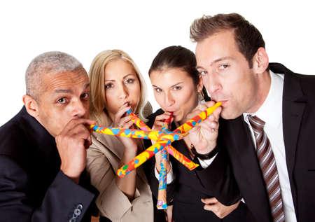 Business team celebrating birthday