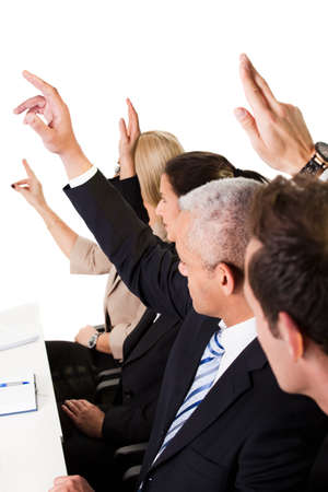 raise hand: Business lecture