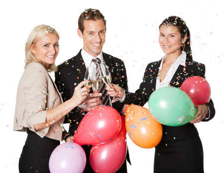 3 people: Business team selebrating success Stock Photo