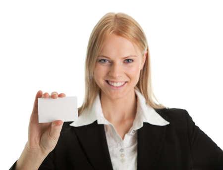 Businesswoman holding blank card Stock Photo - 8847838