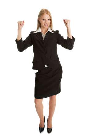 Excited businesswoman celebrating success photo