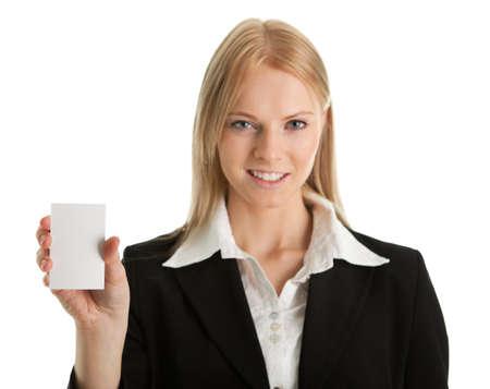 Businesswoman holding blank card Stock Photo - 8856752