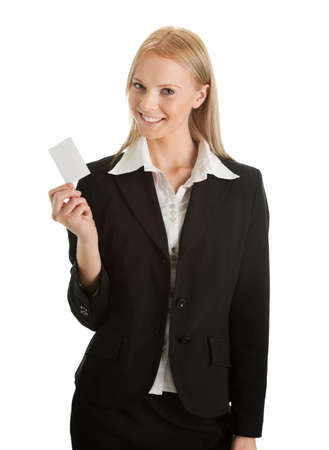 Businesswoman holding blank card photo