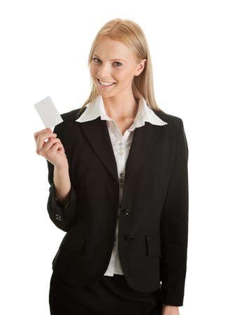 Businesswoman holding blank card photo